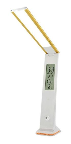 Luminária Led Recarregável Touch Com Relógio Solver Slm-101