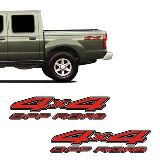 Par De Adesivos 4x4 Off Road Nissan Frontier Emblema Lateral