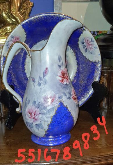 Aguamanil De Porcelana. Jarra Y Palangana