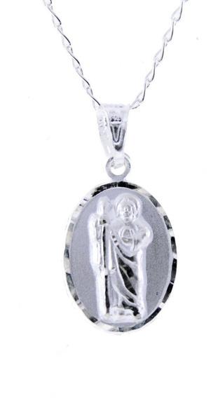 Medalla San Judas Tadeo De Plata .925 +cadena 1.5cm Virgen