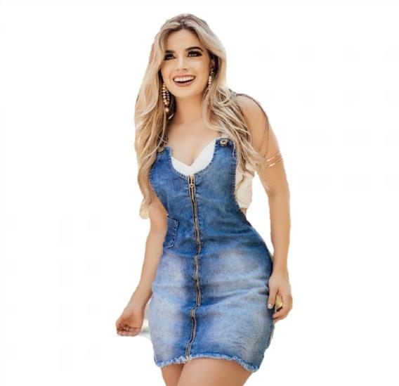 Vestido Jardineira Jeans Lycra Feminino Salopete Vjs01