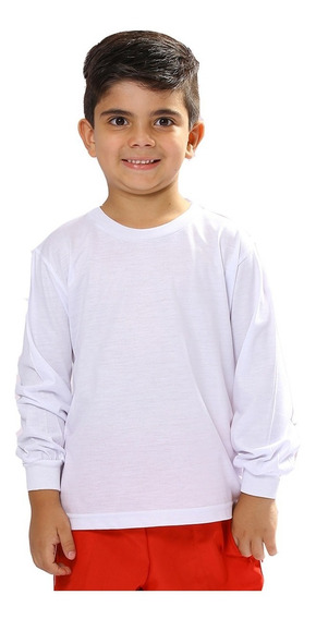 Camiseta Manga Longa Infantil Básica Camisa Blusa Escolar