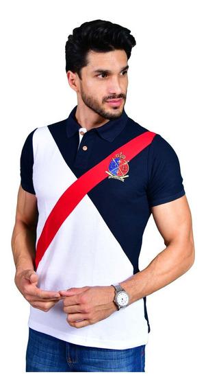 Camisa Polo Porto Blanco Algodon Hombre Azul Y Rojo Franja