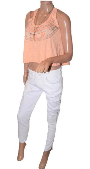 47 Street Pantalon Slit Flakes Blanco Con Tachitas