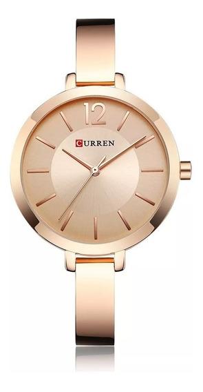 Relógio Feminino Curren Dourado Rose Analógico Pequeno