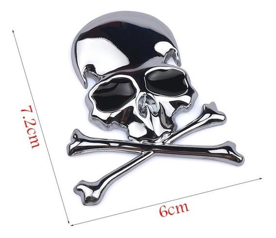 3x Adesivo Skull Caveira 3d Emblema Moto Carro Harley Kit