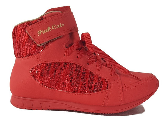 Tênis Botinha Menina Pink Cats W8464a Vermelha Cd179