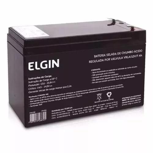 Bateria Selada 12v 7ah Elgin Nobreak Alarme Cerca Eletrica