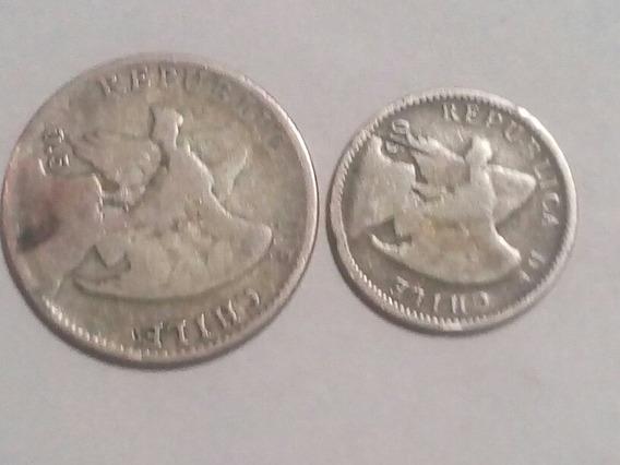 Chile 20 Ctvos 1907 Plata Y 10 Ctvos 1907 Plata