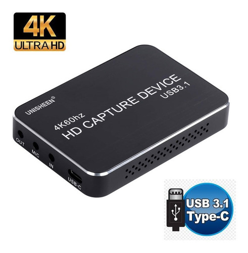 Imagen 1 de 8 de Capturadora Hdmi 4k Usb 3.1 Transmision Vivo Streaming