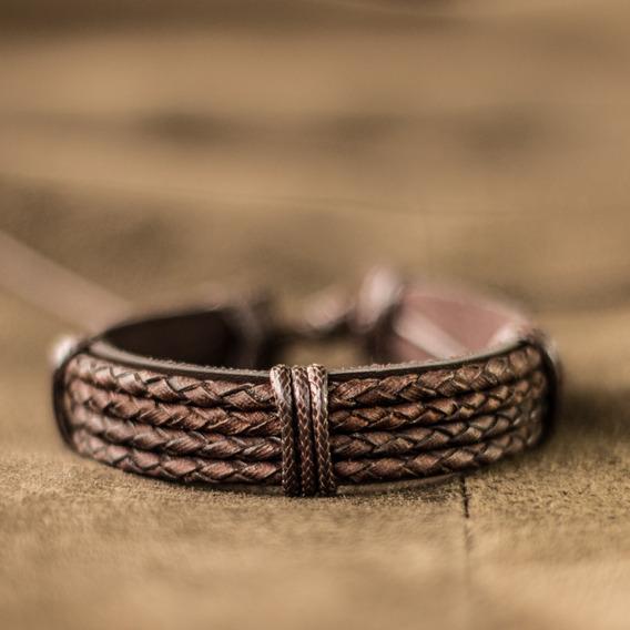Pulseira Masculina De Couro Marrom Bracelete