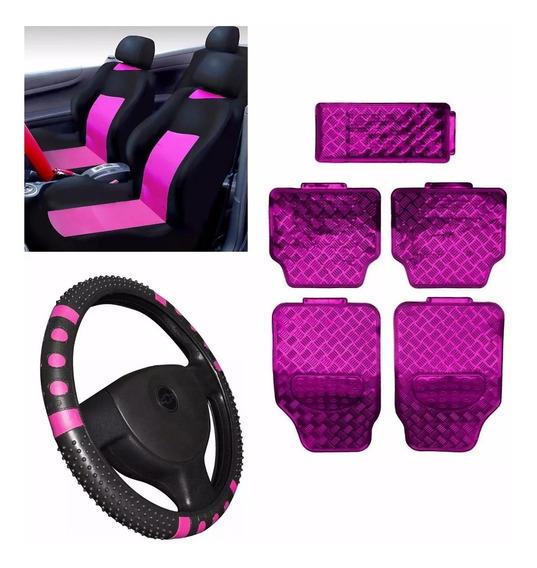 Kit Pink Jogo Tapete Capa Banco Volant Fusca Fiat Uno Palio