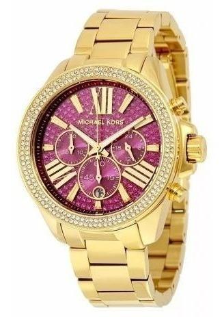 Relógio Michael Kors Mk6290 Crystal Pave Dourado Pink