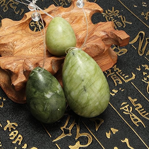 Elegiant Conjunto De 3 Natural Jade Blanco De Huevo Para Los