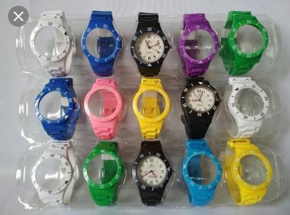 Relógio Troca Pulseira Unissex Masc Femino Kit C/ 3 Estojos