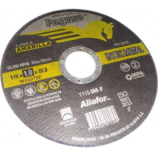 Disco Corte Aliafor Pegaso Inoxidable Metal 115mmx1mm X1 Uni