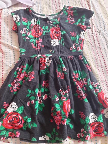 Vestido Niña Carters Negro Floral Algodón 5 Años