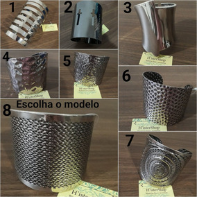 Kit10 Bracelete Pulseira Feminino Largo Dourado Prata Rigida