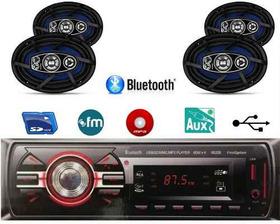 Kit Som Radio Mp3 Bluetooth + 2 Kit Alto Falante 6x9 200w