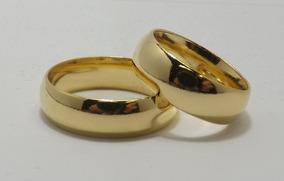 Aliança Banhada A Ouro 24k Modelo Tradicional Grossa.