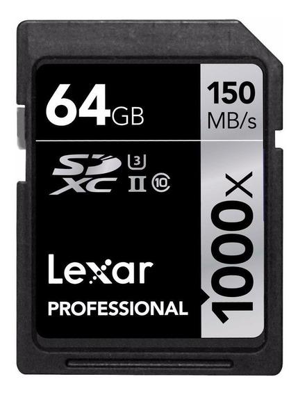 Cartão De Memória Lexar Professional 1000x 64gb Sdxc 4k