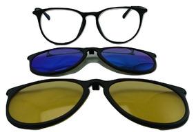 47bc3a785 Armação Oculos Grau Rhar5721 Preto Com 2 Clip On Polarizado
