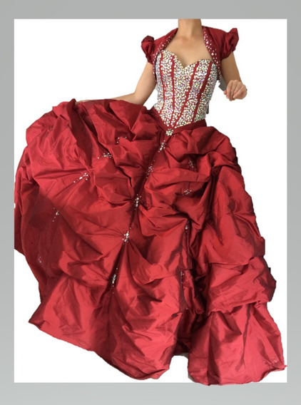 Vestido De Xv Años Marca Luxor_color Rojo Pétalo De Rosas
