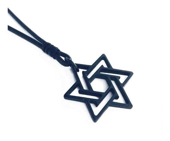Cordão Ajustável Colar Masculino Estrela De Davi Proteção