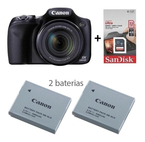 Câmera Canon Sx 530 Hs Zoom 50x+ Bolsa + Tripé + 32gb + 3bat
