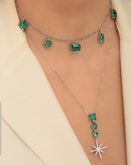 Lindo Colar Em Ródio Prata Pedras Verdes Modelo Cartier