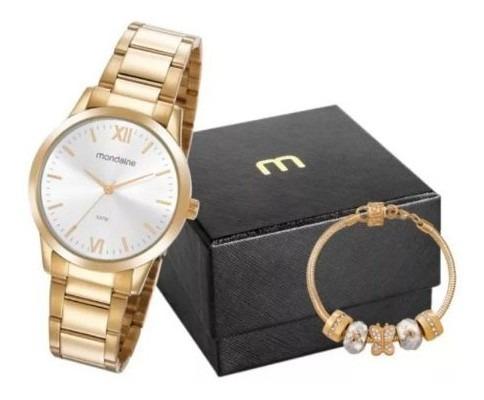 Kit Relógio Feminino Mondaine Dourado 53922lpmgde3k1