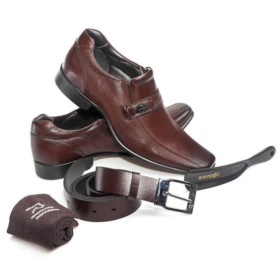 Kit 4 Em 1 Sapato Masculino Couro Rafarillo Mogno 34004-01