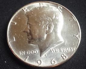 Moeda Antiga Eua Half Dollar John Kennedy Prata 1968