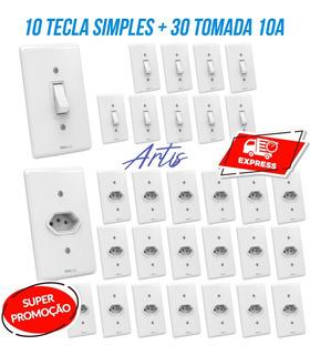 30 Tomada + 10 Interruptor Simples Monaco Casa Completa