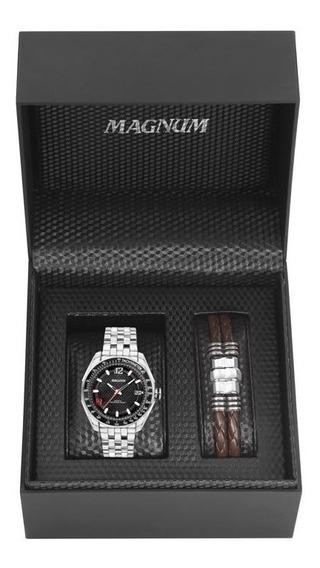 Relógio Magnum Masculino Ref: Ma32176c Prateado + Pulseira