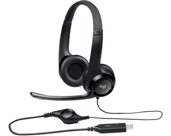 Fone Headset Logitech H390 Com Microfone Usb Pc Jogos Couro