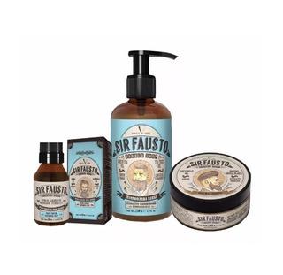 Sir Fausto Kit Shampoo Barba + Cera Capilar + Oleo Barba