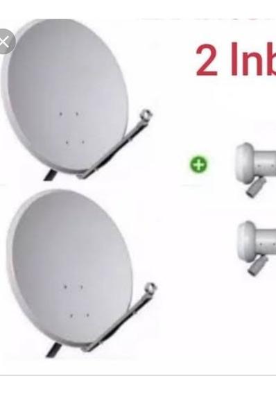 Kit Com Duas Antenas Ku 2 Lnbf ,100 Mt. Cabos,