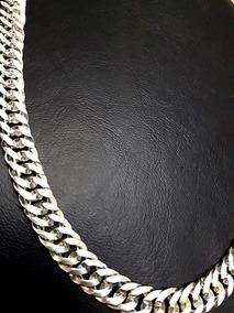 Cordao Corrente Elos Duplos Em Prata 925. 10mm De Largura