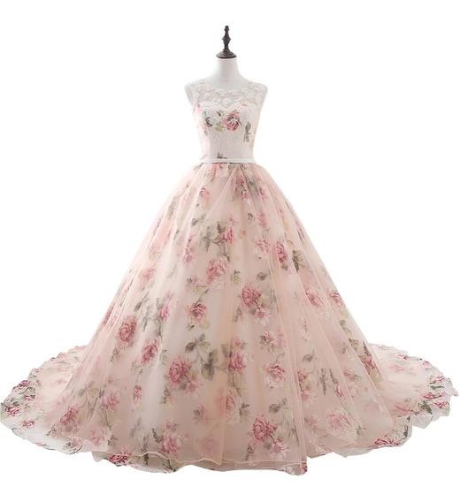 Vestido De Xv Años De Flores 15 Años Quinceañeras Envío Grat