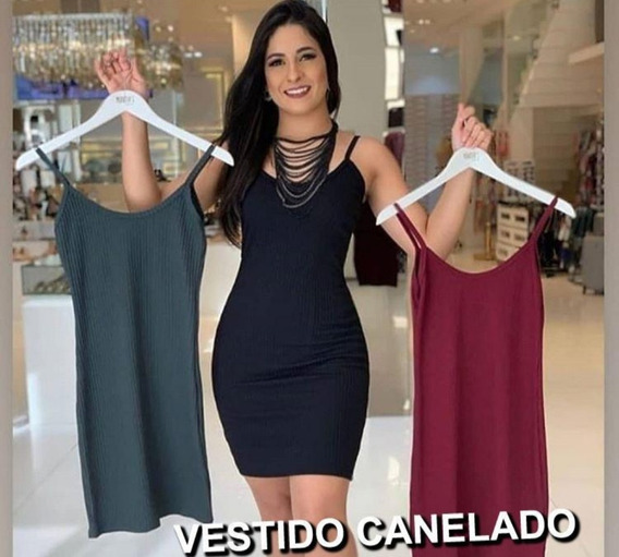 Vestido Curto Alça Ribana Canelada Justo Blogueira Instagram