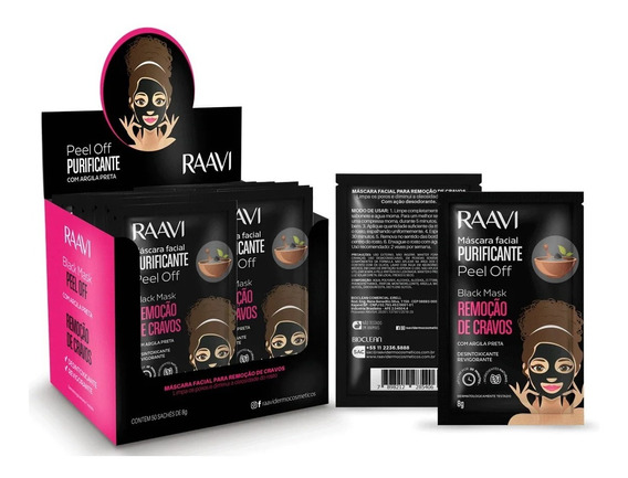 Kit C/10 Mascara Preta Removedora De Cravos Raavi 8g