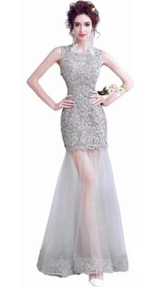 Vestido De Noche Tul Envio Gratis ! J-1206003