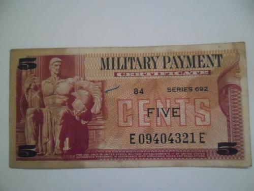 Billete Military Payment Militar Five Cents Original