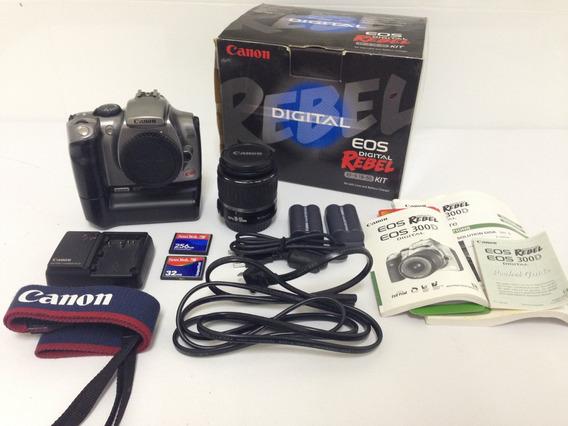 Canon D300 Eos Rebel Gripe + Lente 18-55mm Canon + Cartão Cf