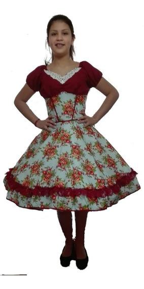 Vestido Huasa Celeste Con Burdeo S- M L Y Xl Cueca