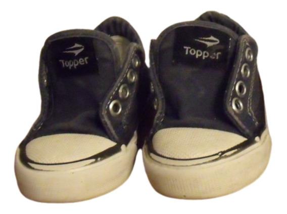 Zapatillas Topper Lona Azul Para Niño - Talle 22