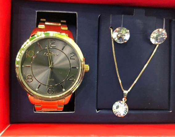 Relógio Condor Feminino Co2035kuu/k4g + Colar E Brincos