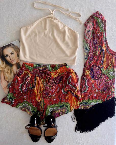 Kimono Franjas+ Short+top Perola Tam Unico