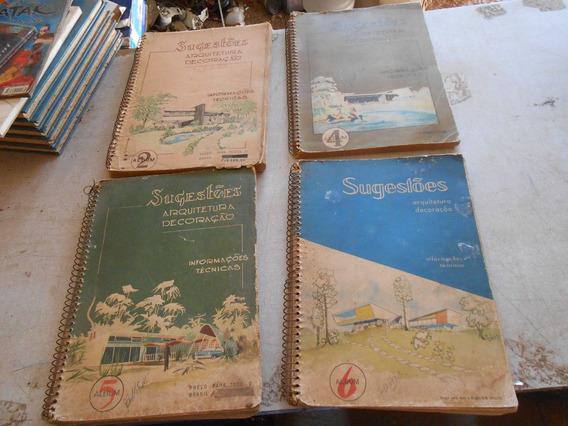 4 Livro Arquitetura Decoração Instruções Raro Antigo Coleção